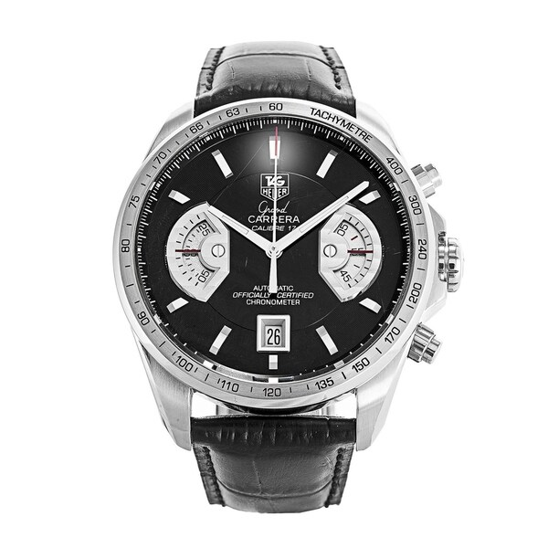 fec6d3c1c7a Shop Tag Heuer Men's CAV511A.FC6225 'Grand Carrera' Chronograph Automatic  Black Leather Watch - Free Shipping Today - Overstock - 22749477