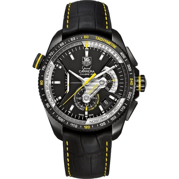 3fe304dc6792 Shop Tag Heuer Men s CAV5186.FC6304  Grand Carrera  Chronometer Automatic  Black Leather Watch - Free Shipping Today - Overstock - 22749487