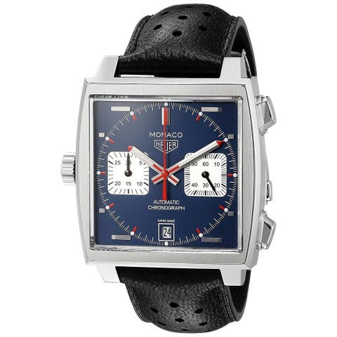 Tag Heuer Men's CAW211P.FC6356 'Monaco' Chronograph Automatic Black Leather Watch