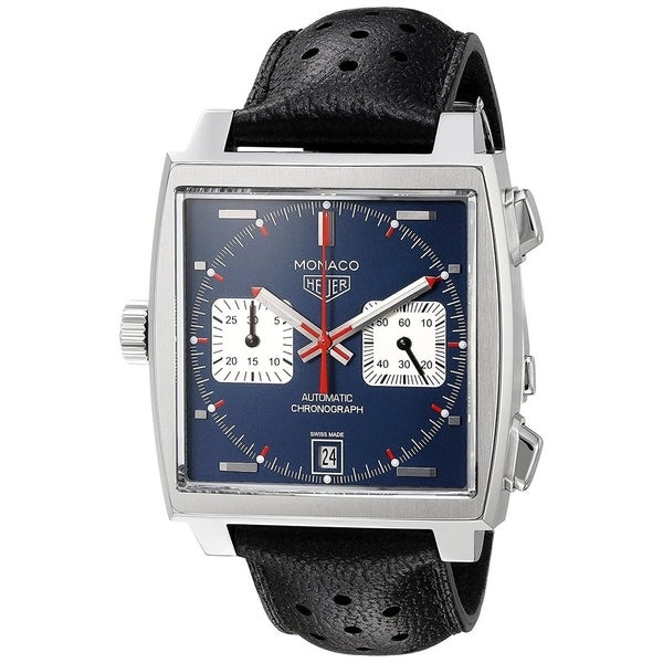 Tag Heuer Men's CAW211P.FC6356 'Monaco' Chronograph Automatic Black Leather Watch. Opens flyout.
