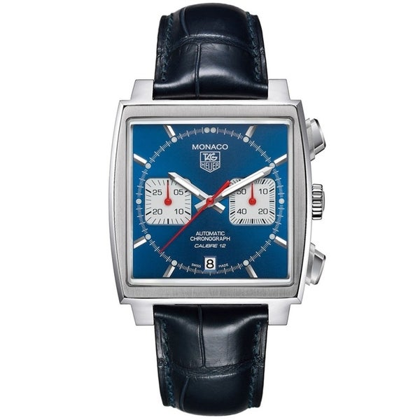 Tag Heuer Men's CAW2111.FC6183 'Monaco Calibre 12' Chronograph Automatic Black Leather Watch. Opens flyout.