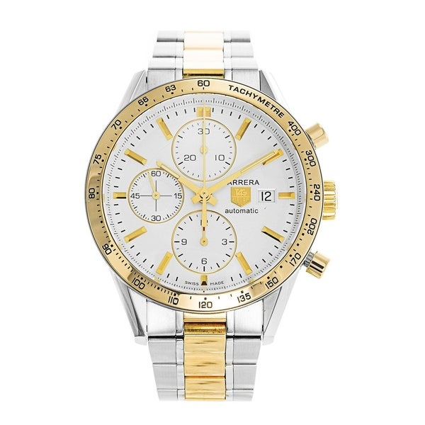 fe18febc513b Shop Tag Heuer Men s CV2050.BD0789  Carrera  18kt yellow gold Chronograph  Automatic Two-Tone Stainless Steel Watch - Free Shipping Today - Overstock  - ...