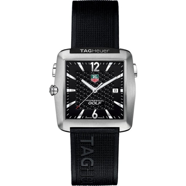 afdd1ea8b6a Shop Tag Heuer Men s WAE1111.FT6004  Professional Golf  Black Rubber Watch  - Free Shipping Today - Overstock - 22749523