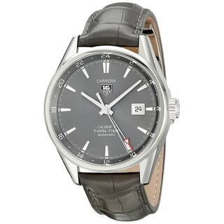 Tag Heuer Men's WAR2012.FC6326 'Carrera' Automatic Grey Leather Watch