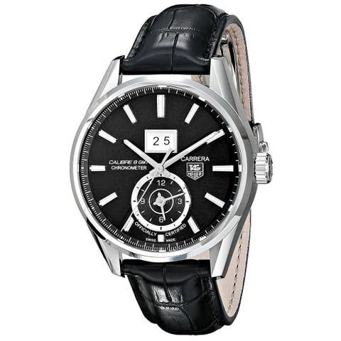 Tag Heuer Men's WAR5010.FC6266 'Carrera' GMT Chronometer Automatic Black Leather Watch
