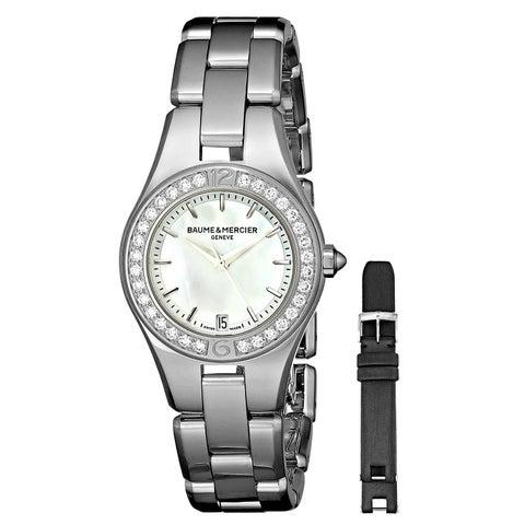 Baume & Mercier Women's MOA10013 'Linea' Extra Leather Black Strap Diamond Stainless Steel Watch