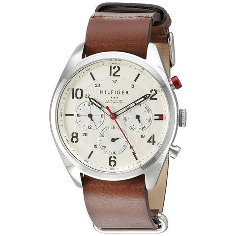 1dd49a27 Tommy Hilfiger Men's 1791188 'Corbin' Multi-Function Brown Leather Watch