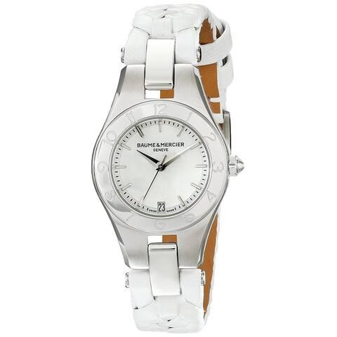 Baume & Mercier Women's MOA10117 'Linea' White Leather Watch