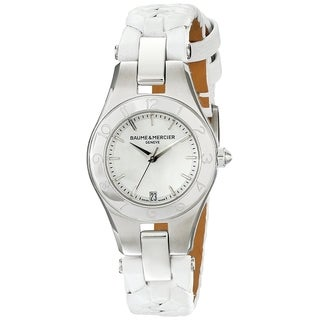 Baume & Mercier Women's MOA10117 'Linea' White Leather Watch