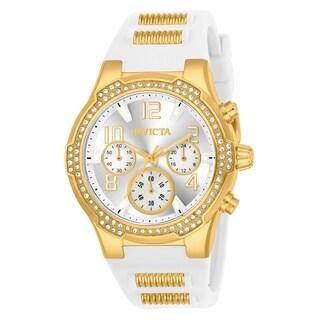 Invicta Women's 24199 'Blu' White and Gold inserts Silicone Watch