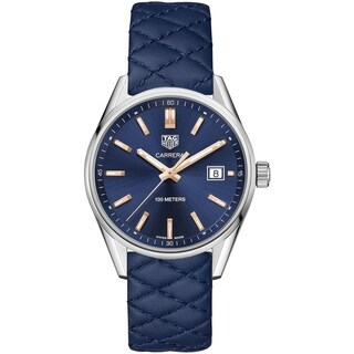 Tag Heuer Women's WAR1112.FC6391 'Carrera' Blue Quilted Leather Watch