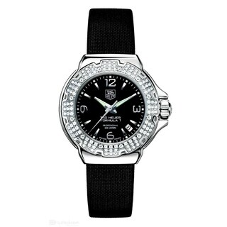 Tag Heuer Women's WAC1214.FC6218 'Formula 1' Chronograph Diamond Black Satin Watch