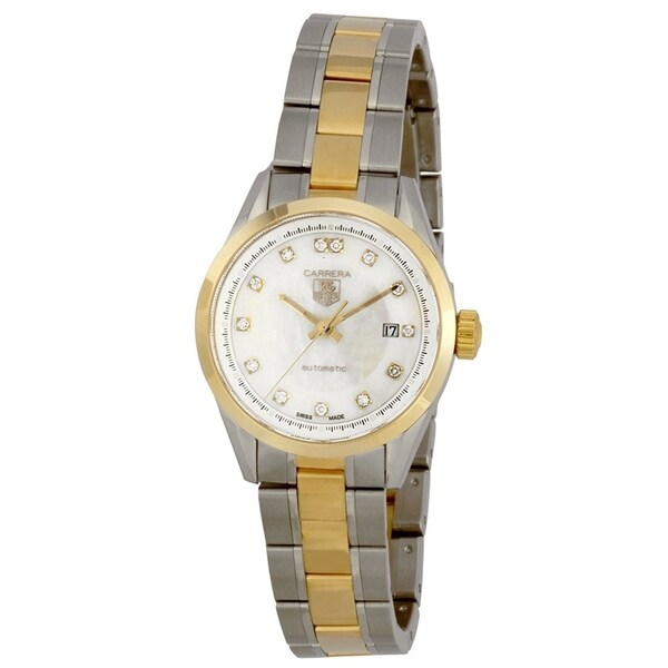 bbd381dd1913 Shop Tag Heuer Women s WV2450.BD0797  Carrera  18kt yellow gold Diamond  Automatic Two-Tone Stainless Steel Watch - Free Shipping Today - Overstock  - ...
