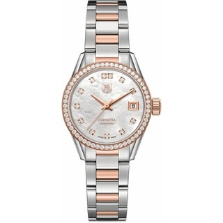 Tag Heuer Women's WAR2453.BD0777 'Carrera' 18kt Rose Gold Diamond Automatic Two-Tone Stainless Steel and Gold Watch