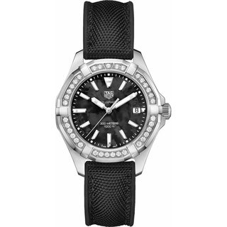 Tag Heuer Women's WAY131P.FT6092 'Aquaracer' Diamond Black Textile and Rubber Watch