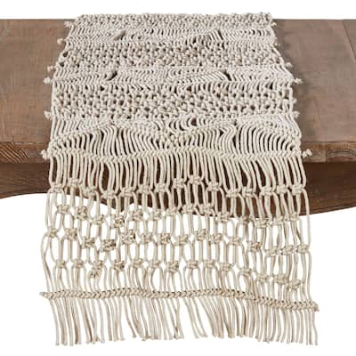 Cotton Table Runner With Macramé Design