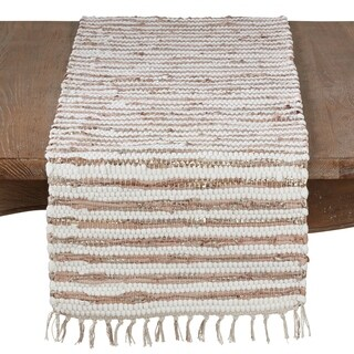 Leather And Cotton Woven Chindi Table Runner