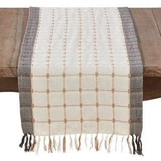 Woven Windowpane And Tassel Design Cotton Table Runner