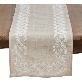 Embroidered Table Runner With Botanical Design