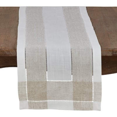 Timeless Linen Blend Table Runner With Hemstitch Accents