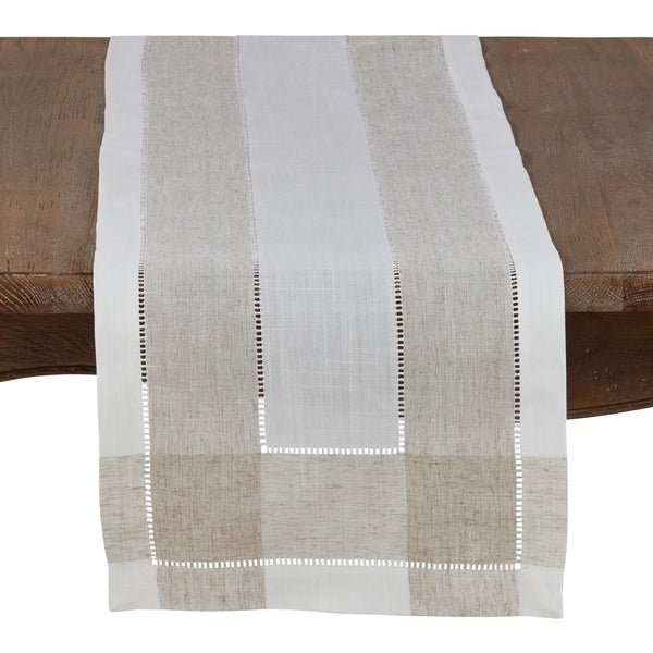 Timeless Linen Blend Table Runner With Hemstitch Accents. Opens flyout.