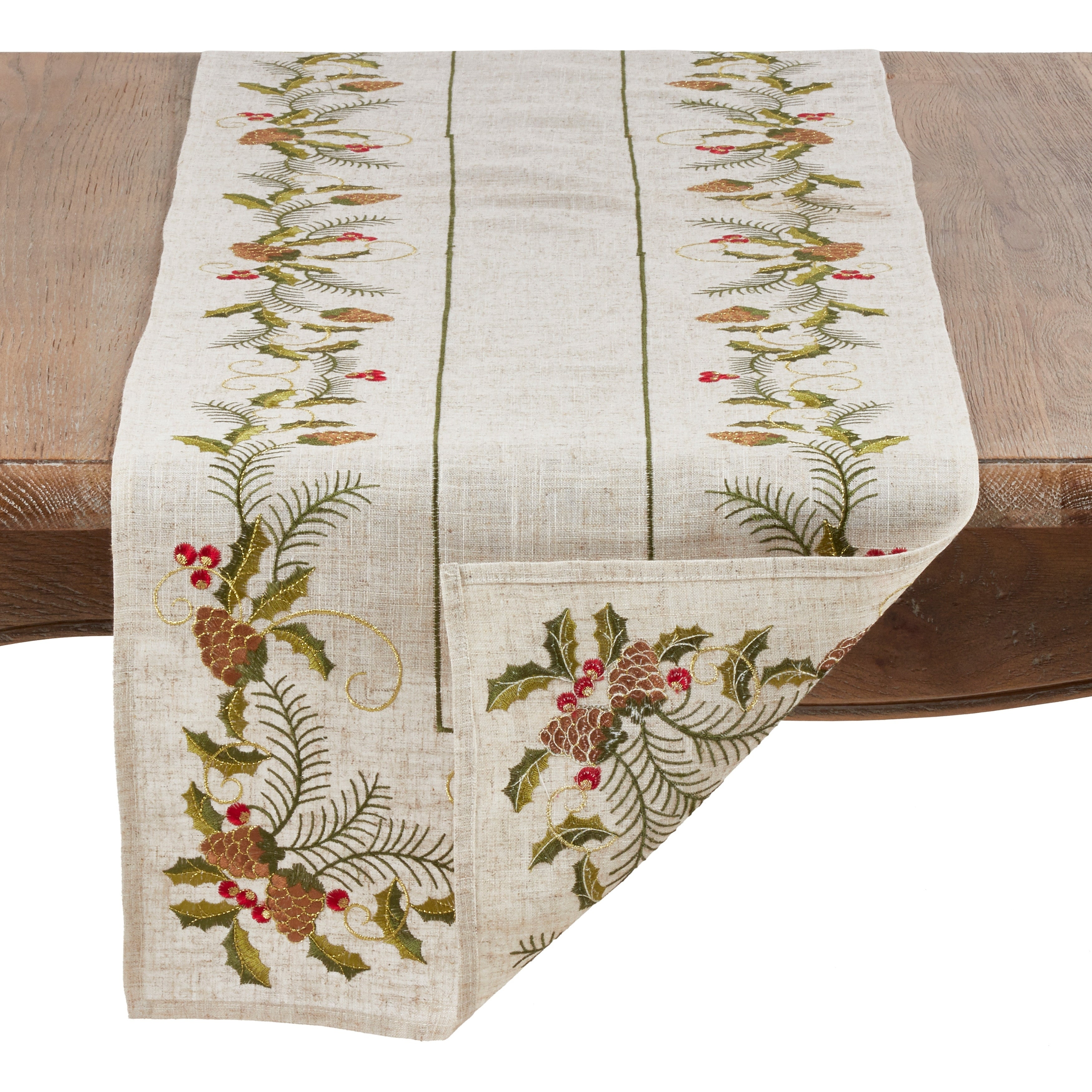 Christmas Table Runner.Christmas Table Runner With Embroidered Pinecone And Holly Design