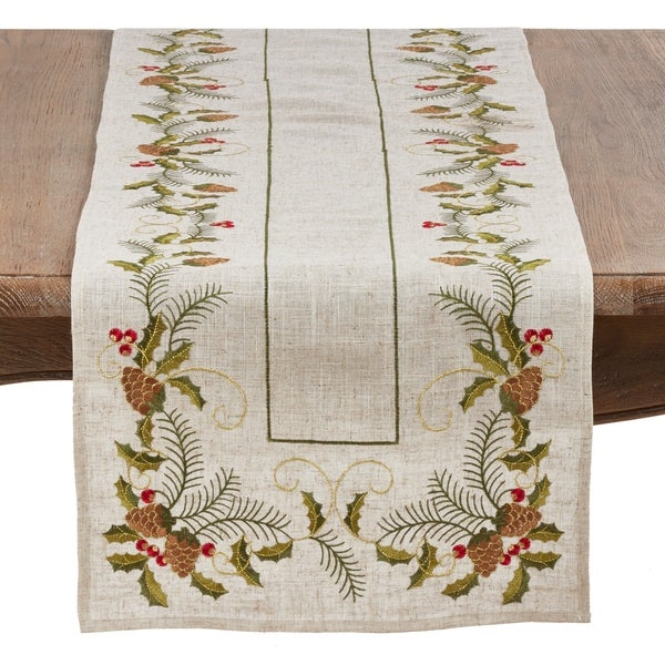 Christmas Table Runner with Embroidered Pinecone and Holly Design. Opens flyout.