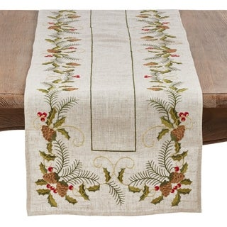 Christmas Table Runner With Embroidered Pinecone And Holly Design