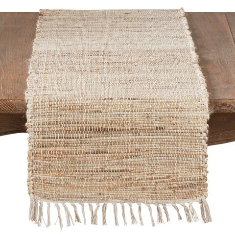 Jute Table Runner With Chindi Design