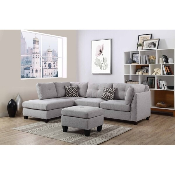 Gray Linen Fabric Sectional Sofa And Ottoman Reversible Chaise