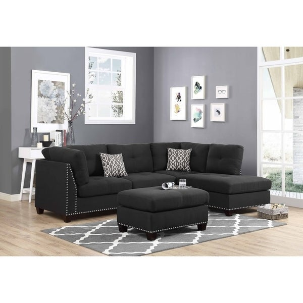 Shop Black Linen Fabric Sectional Sofa And Ottoman Right Facing