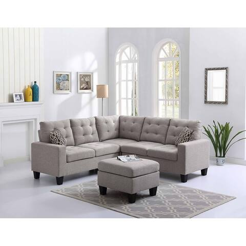 Taupe Gray Linen Fabric Sectional Sofa and Ottoman