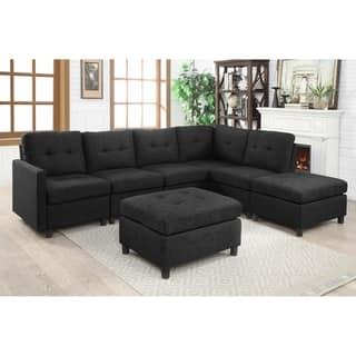 Copper Grove Soden 7-piece Charcoal Linen Fabric Modular Sectional Sofa