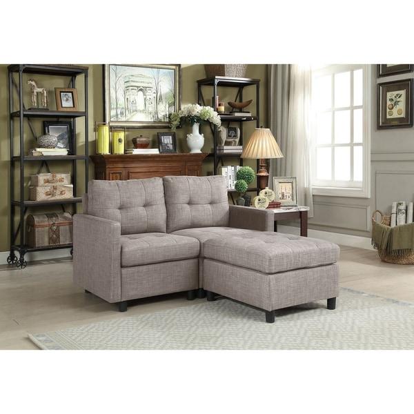 Shop Grey Linen Fabric 3 Piece Modern Modular Sectional Sofa Free