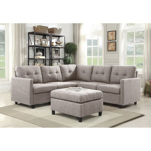 Copper Grove Soden 6-piece Grey Linen Fabric Modular Sectional Sofa