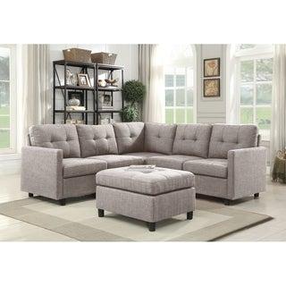 6pcs Grey Linen Fabric Modular Sectional Sofa