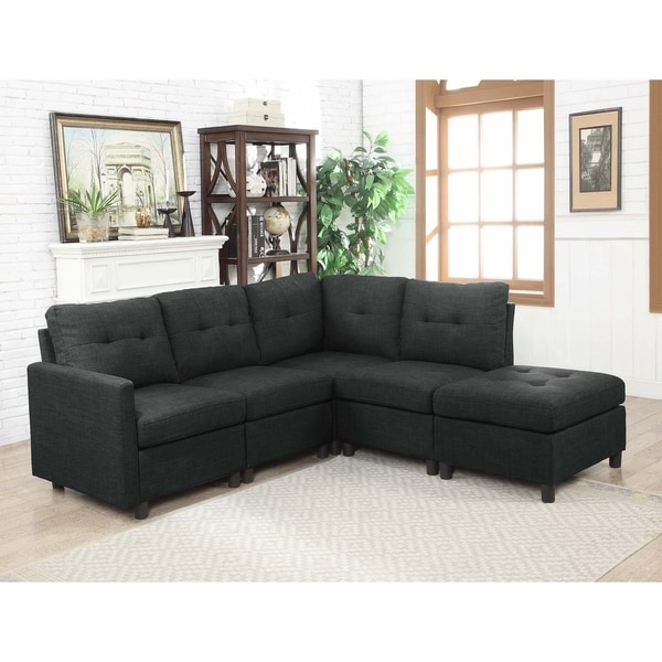 Shop Charcoal Linen Fabric Modular 5-piece Sectional Sofa - Free ...