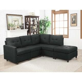 Charcoal Linen Fabric Modular 5-piece Sectional Sofa