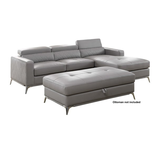 Grey Faux Leather Sectional Sofa Right Facing Chaise