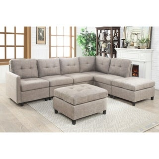 7pcs Grey Linen Fabric Modular Sectional Sofa