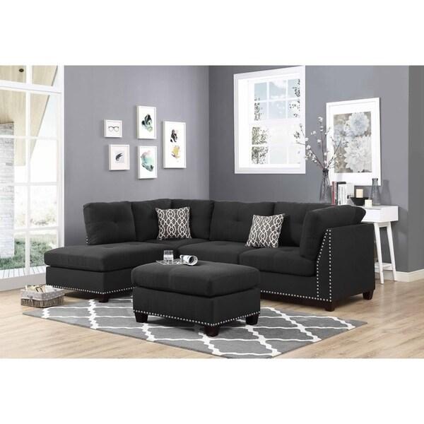 Shop Black Linen Fabric Sectional Sofa And Ottoman Left Facing