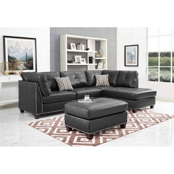 Shop Black Faux Leather Sectional Sofa And Ottoman Right Facing