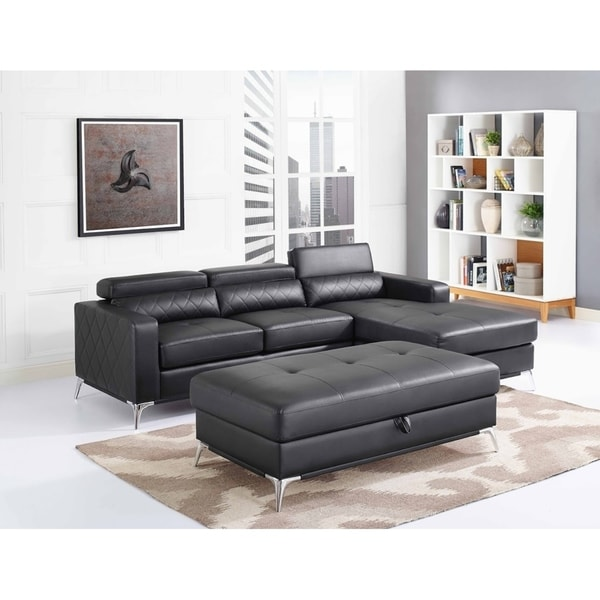 Shop Black Faux Leather Sectional Sofa (Right Facing ...