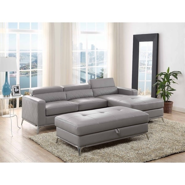 Shop Grey Faux Leather Sectional Sofa Right Facing Chaise With