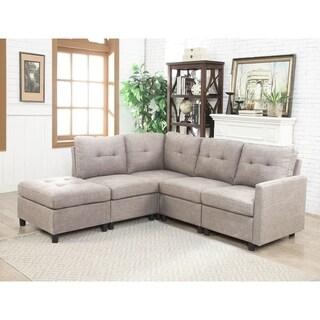 Copper Grove Soden 5-piece Grey Linen Fabric Modular Sectional Sofa