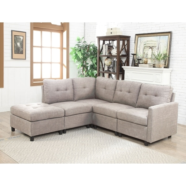 Grey Linen Fabric 5 Piece Contemporary Modular Sectional Sofa