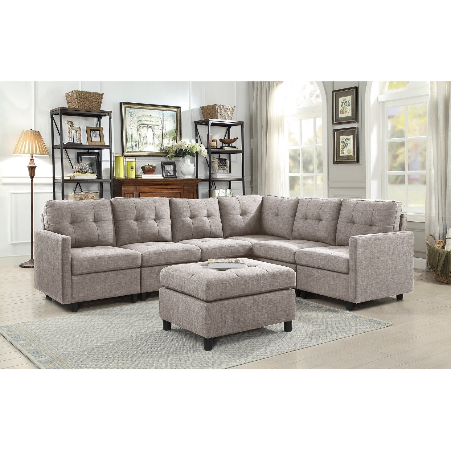 Fine Copper Grove Soden 7 Piece Grey Linen Fabric Modular Sectional Sofa Pabps2019 Chair Design Images Pabps2019Com