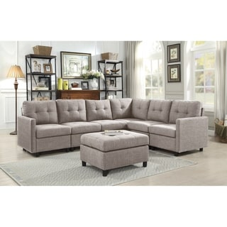 Copper Grove Soden 7-piece Grey Linen Fabric Modular Sectional Sofa