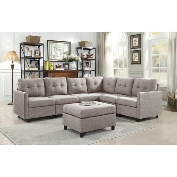 Copper Grove Soden 7-piece Grey Linen Fabric Modular Sectional Sofa