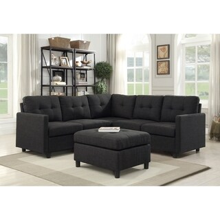 6pcs Charcoal Linen Fabric Modular Sectional Sofa